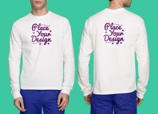 Free-Frontside-&-Backside-White-Long-Sleeves-T-Shirt-Mockup-PSD