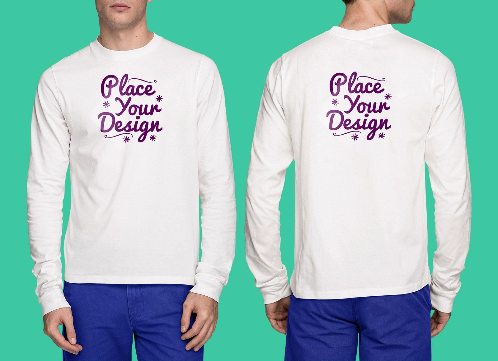 free front back white long sleeves t shirt mockup psd