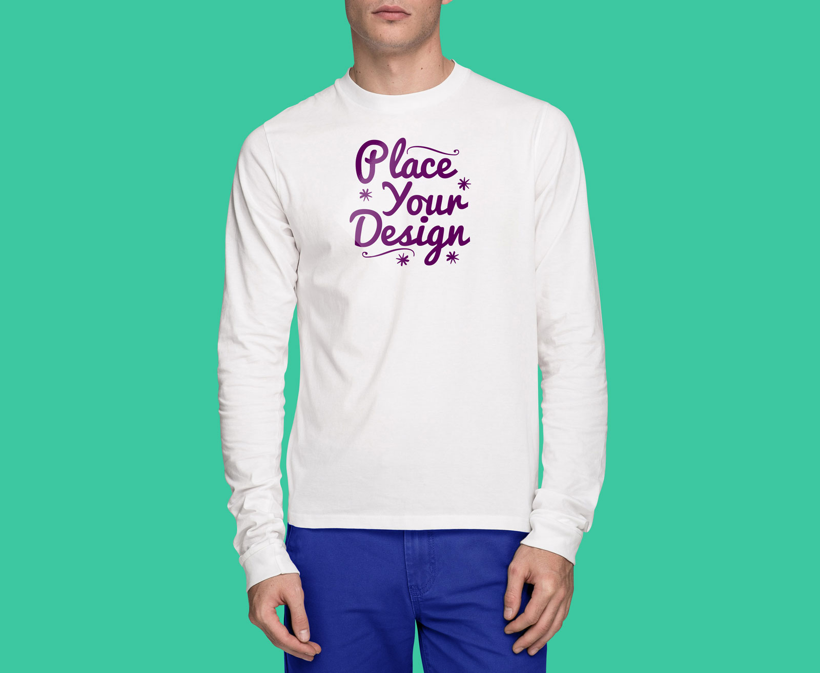 T shirt white mockup - Free Frontside White Long Sleeves T Shirt Mockup