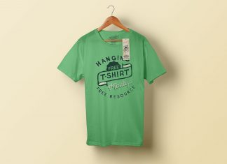 Free-Hanging-T-Shirt-&-Clothing-Tag-Mockup-PSD