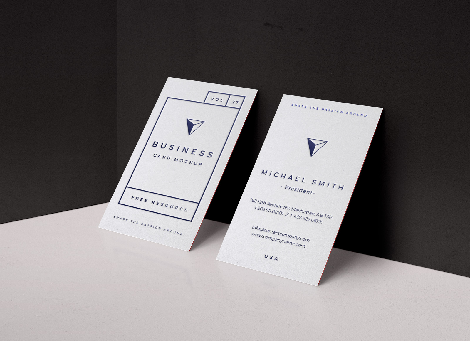Free Letterpress Vertical Business Card Mockup PSD - Good Mockups