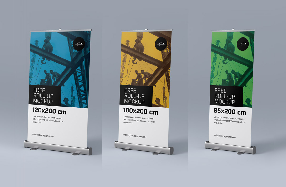 Free Roll-up / Pull-up Banner Stand Mockup PSD Files