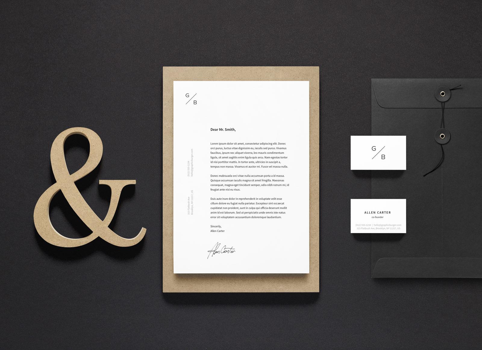 Free a4 letterhead business card stationery mockup psd good mockups colourmoves
