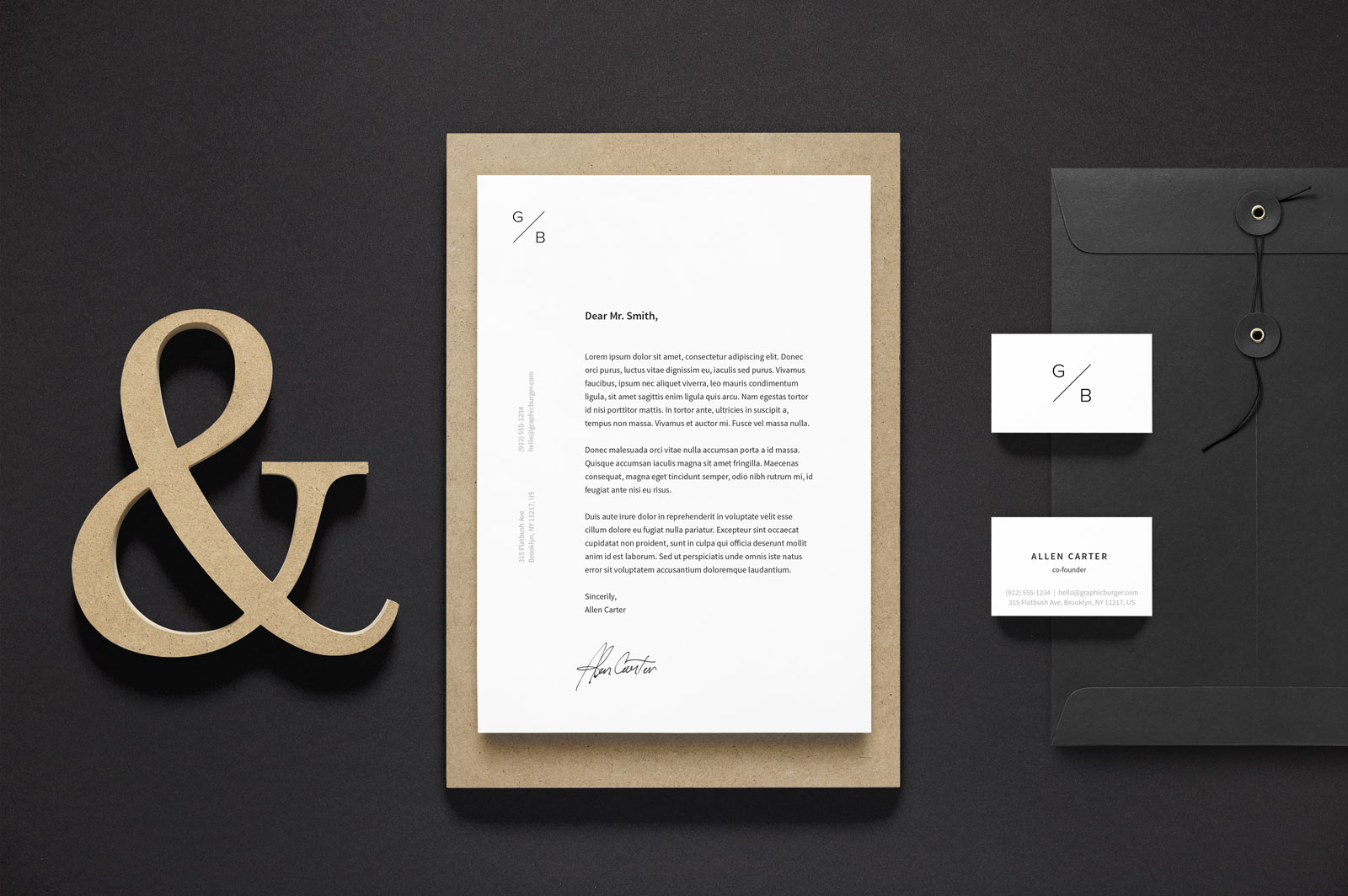 Free A4 Letterhead & Business Card Stationery Mockup PSD - Good Mockups