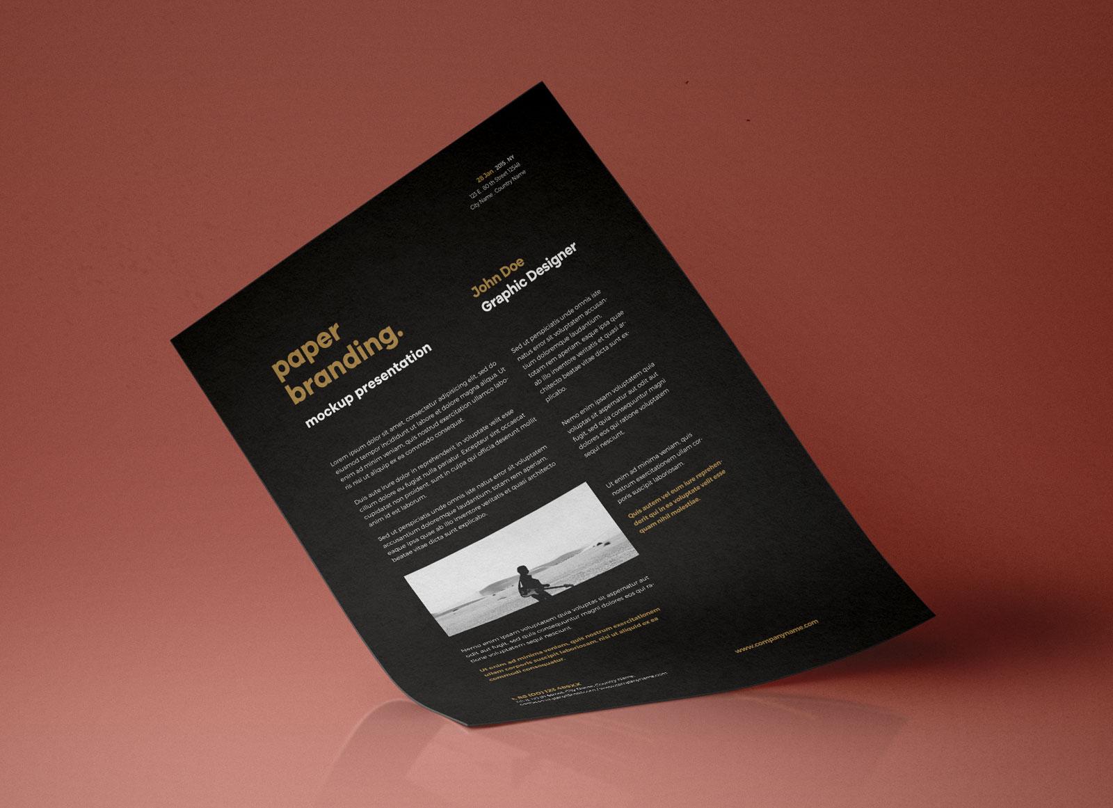 Free A4 Resume Flyer Letterhead Paper Mockup PSD