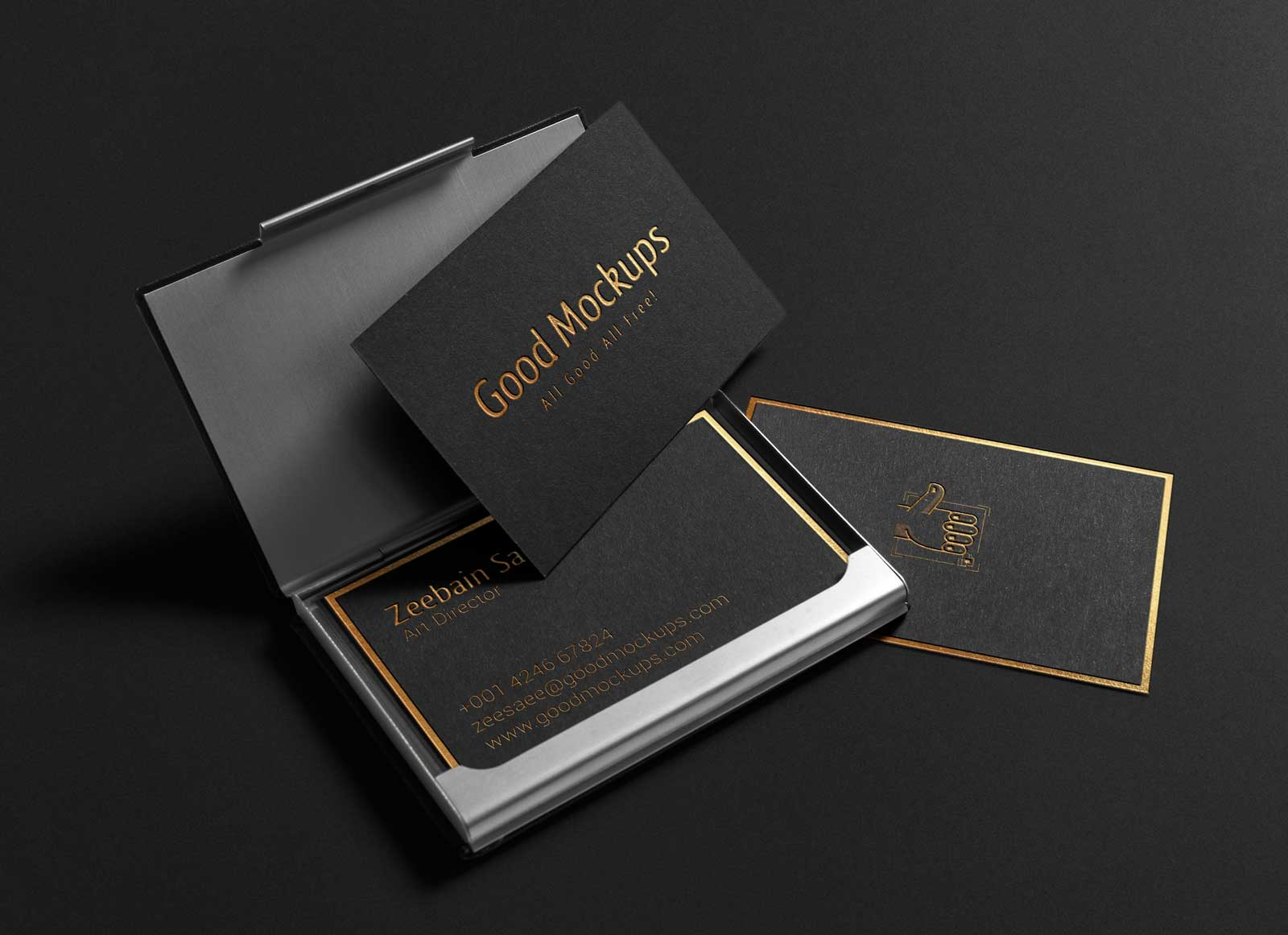 Free black with gold foil lettering business card mockup psd good free black business card mockup psd reheart Gallery