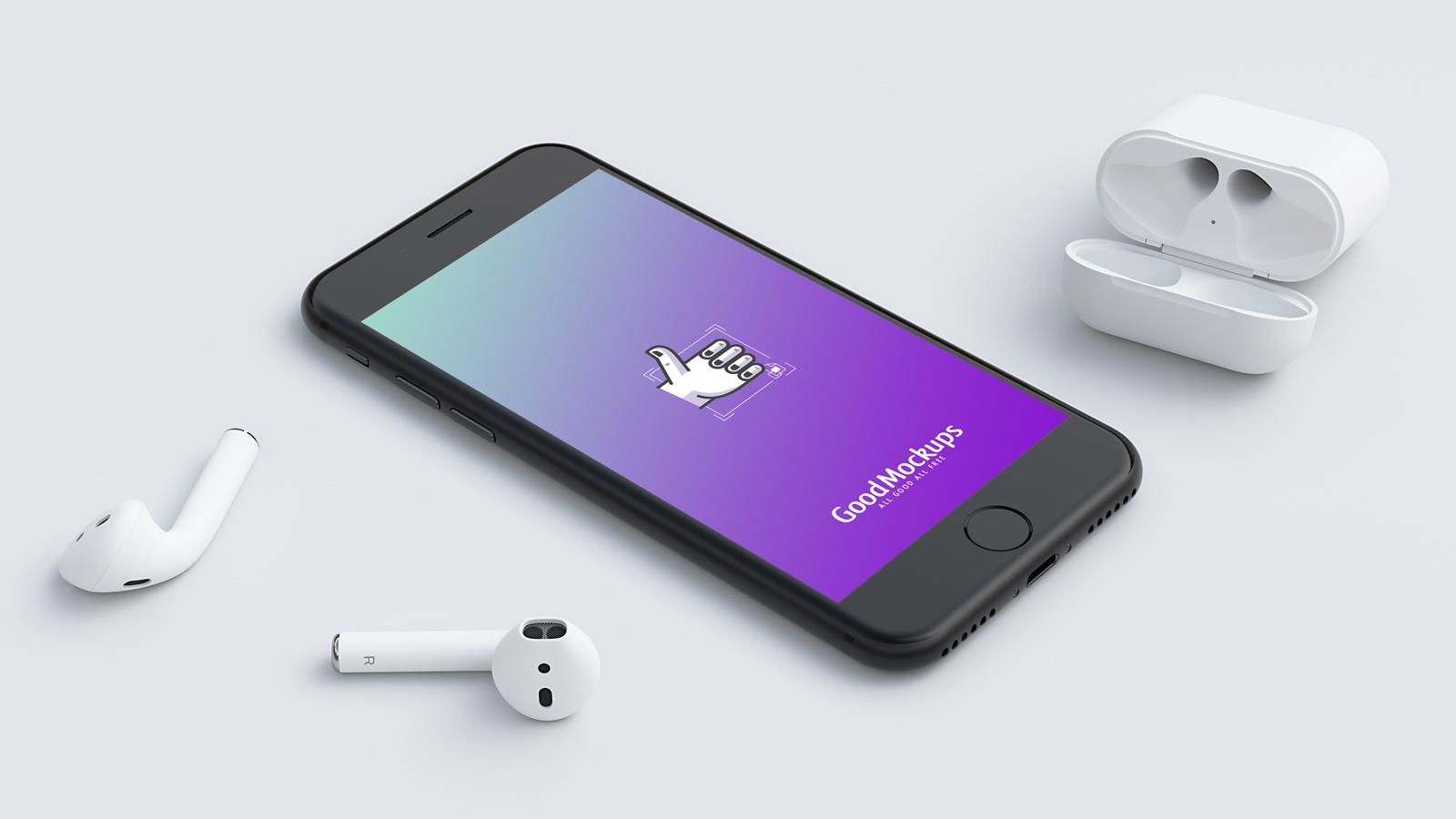Free-Black-iPhone-&-EarPods-Mockup-PSD-File