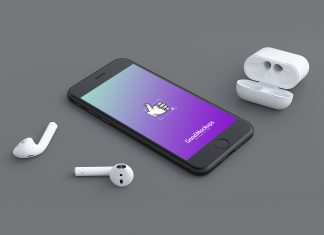 Free-Black-iPhone-&-EarPods-Mockup-PSD-Files