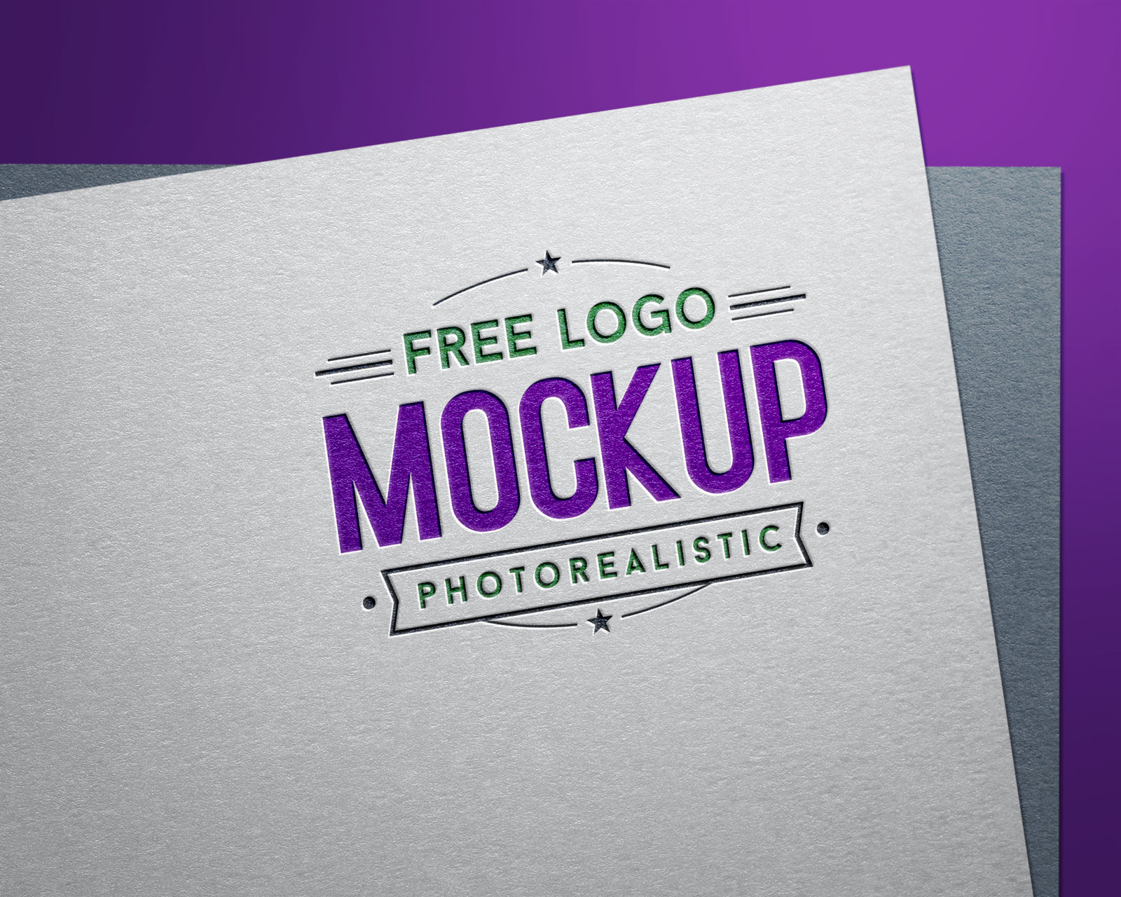 Free Engraved Color Logo Design / Logotype Mockup PSD