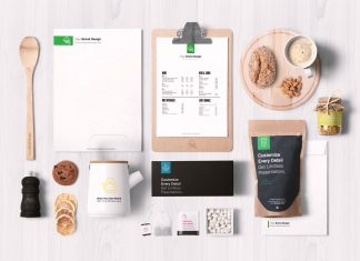 Free-Food-Packaging-&-Branding-Mockup-PSD-Scene