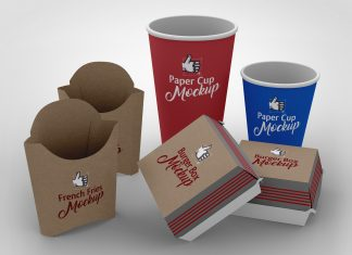 Free-French-Fries,-Burger-&-Paper-Cup-Packaging-Mockup-PSD-Scene