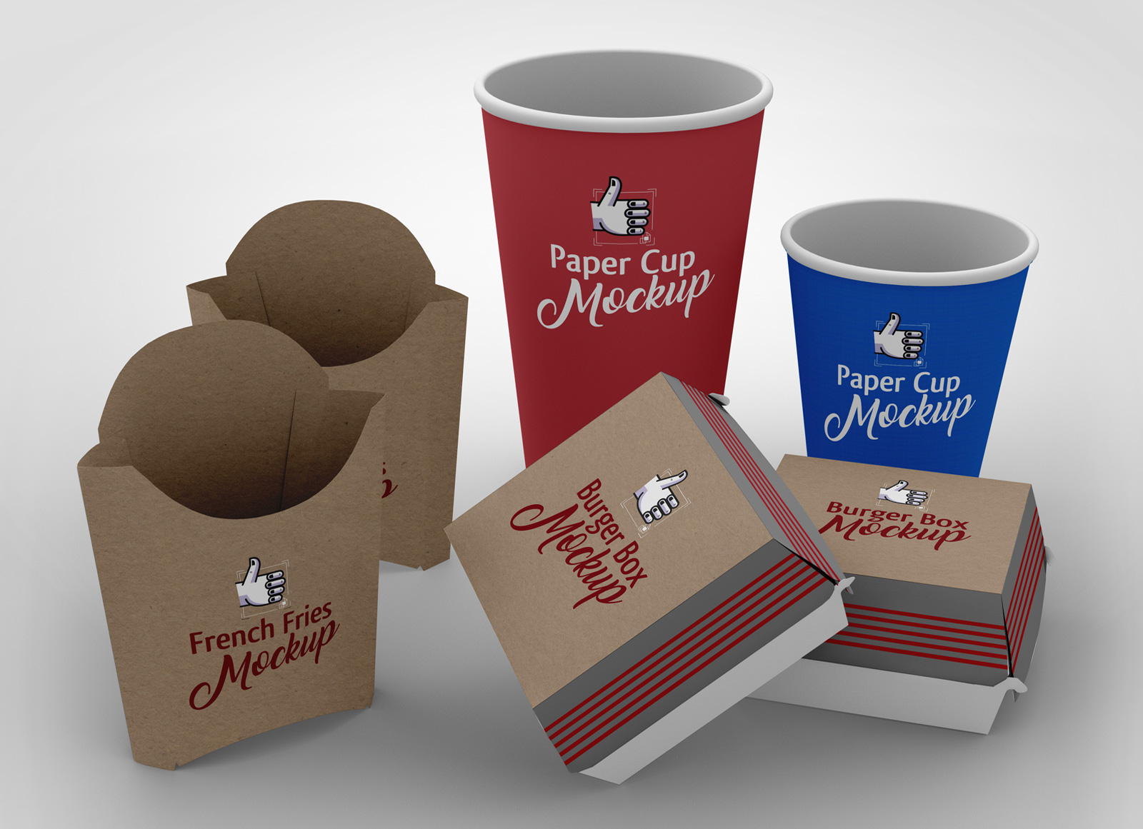 Free French Fries Burger Paper Cup Packaging Mockup Psd Scene