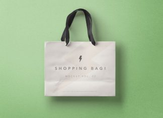 Free High Quality Paper Shopping Bag Mockup PSD
