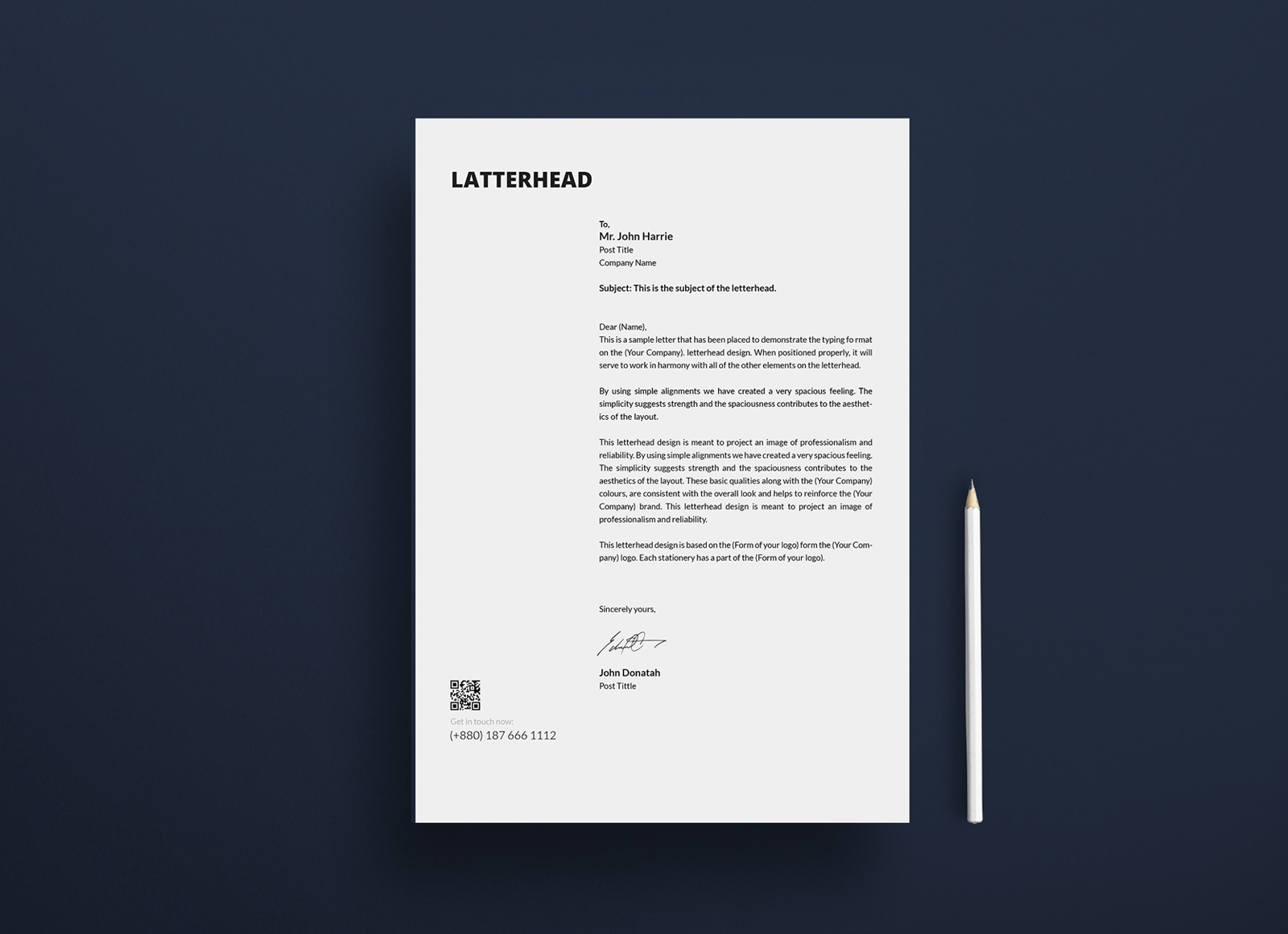 Free Letterhead Paper Mockup PSD - Good Mockups White Paper Bag Texture