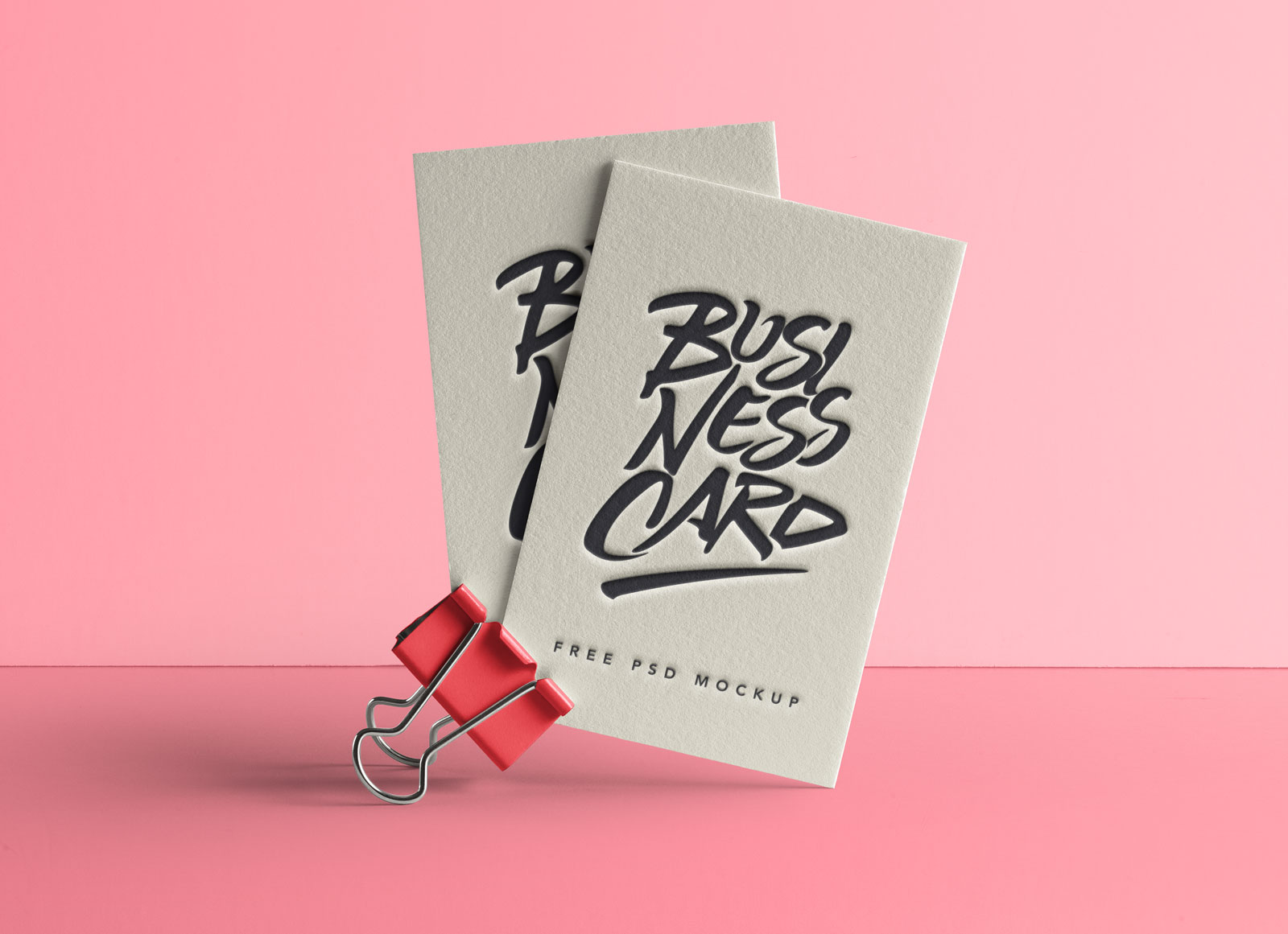 Free Letterpress Business Card Mockup PSD