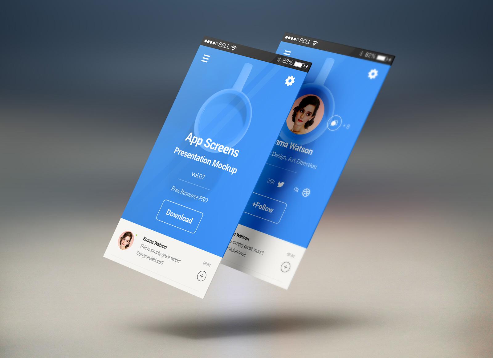 Free Mobile App Screens Presentation Mockup Psd Good Mockups
