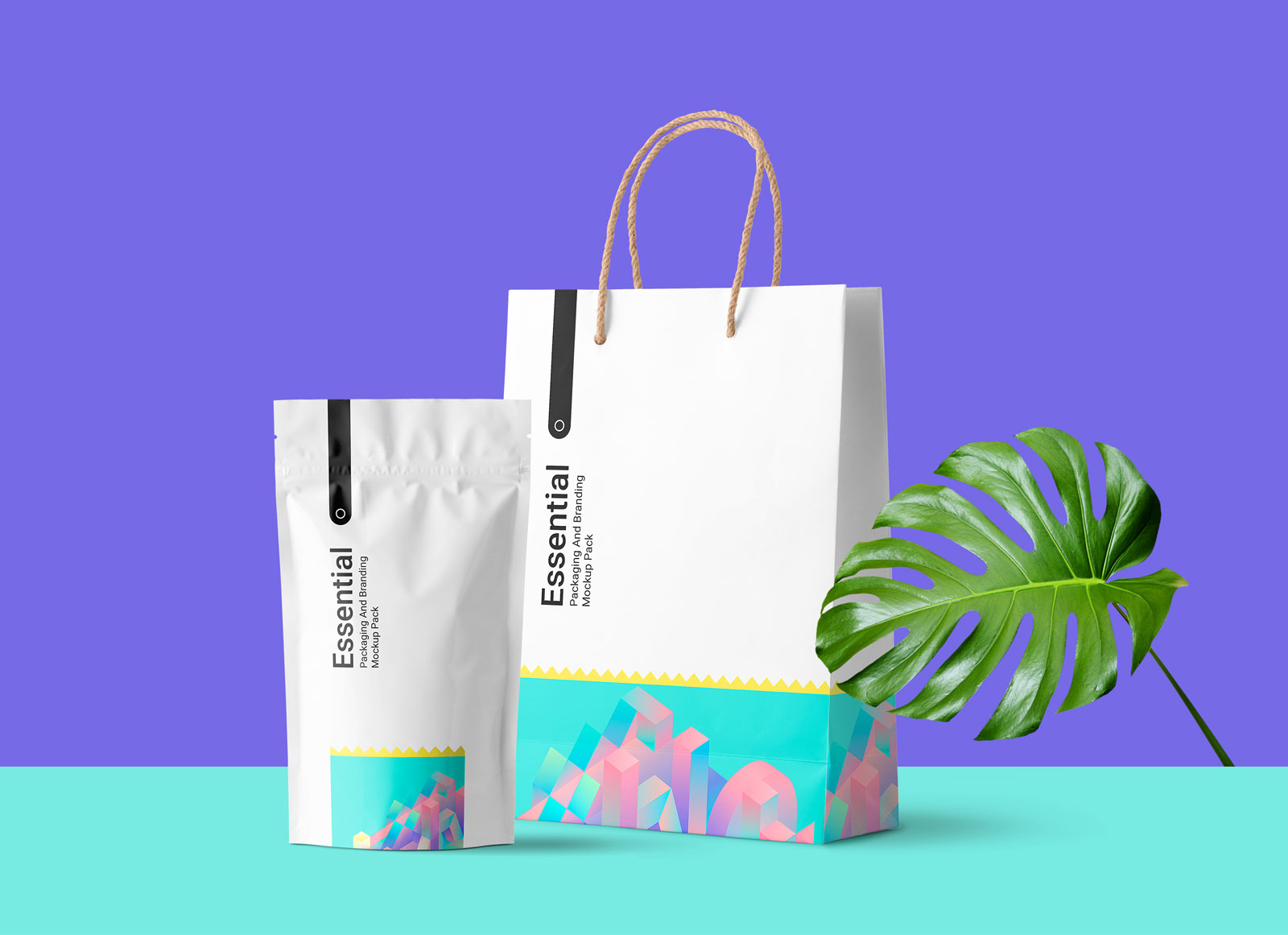 Free Paper Shopping Bag & Plastic Coffee Pouch Pack Mockup ...