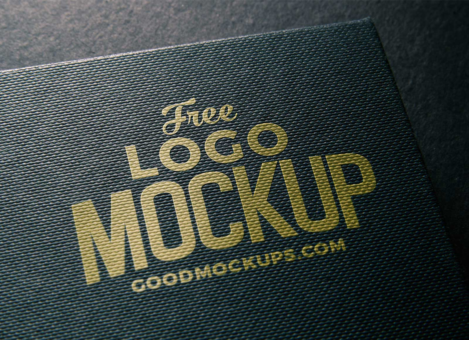 Free Linen Embossed Photorealistic Logo Mockup PSD  Good