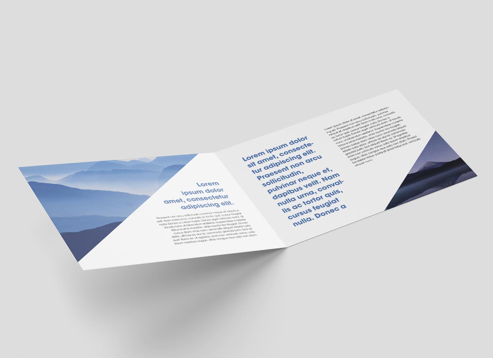 Free Premium Landscape Bi Fold Brochure Mockup Psd Good