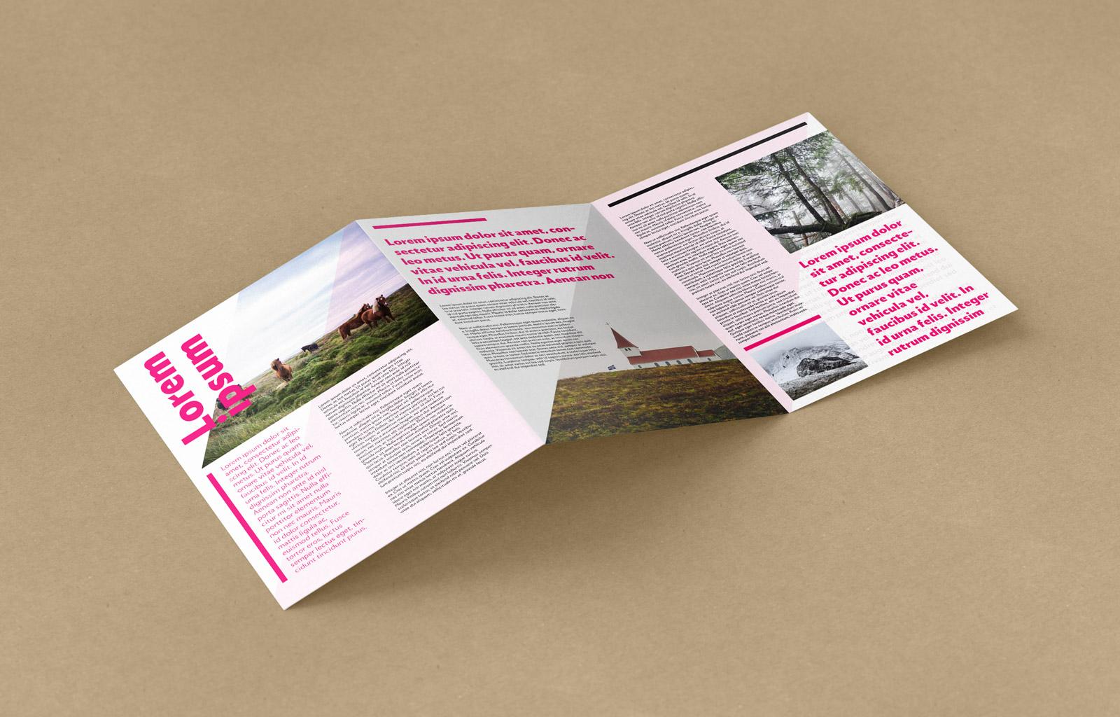 free tri-fold a4 brochure mockup psd