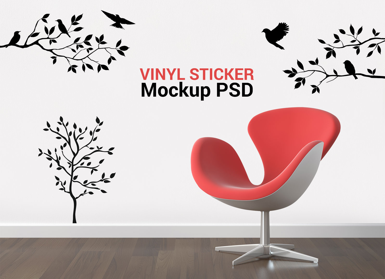 Free wall vinyl sticker mockup psd file good mockups