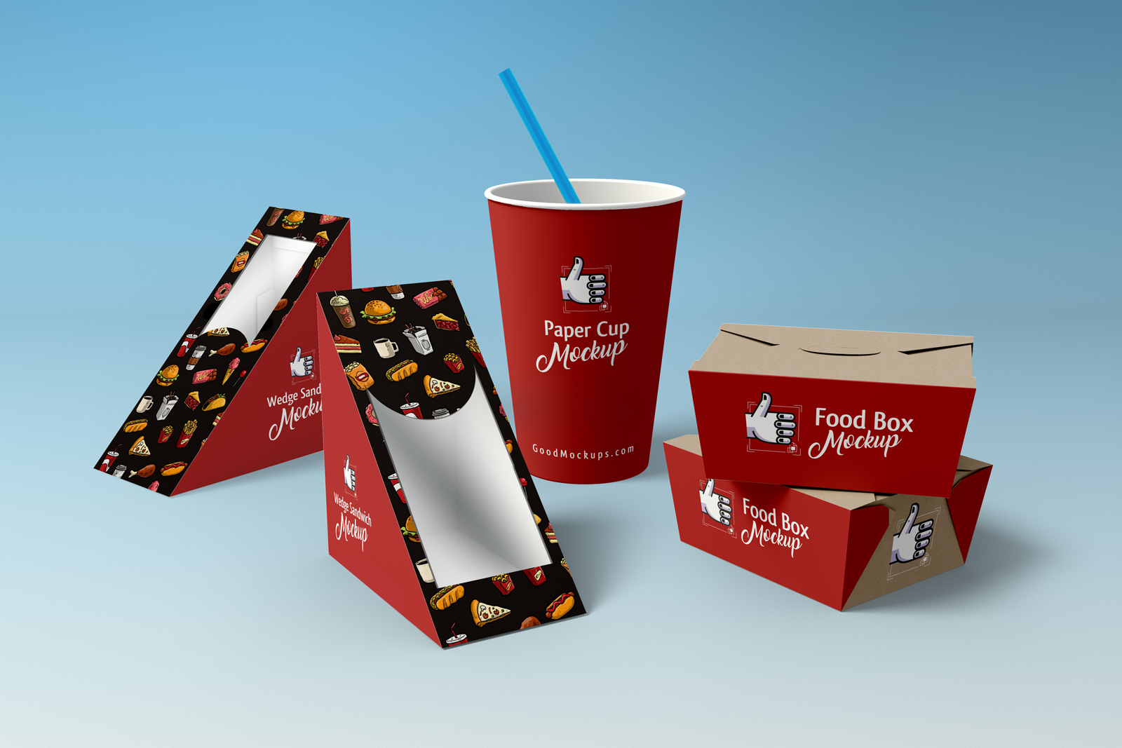 Free Wedge Sandwich, Food Box & Paper Cup Packaging Mockup PSD