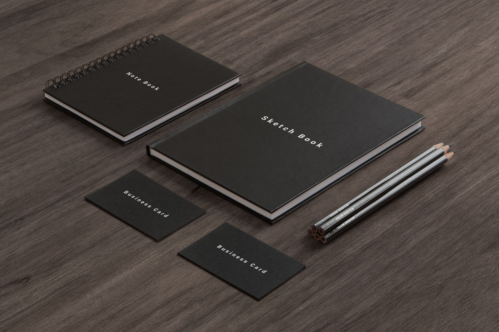 Free business card notepad led pencil sketchbook cover mockup description reheart Choice Image