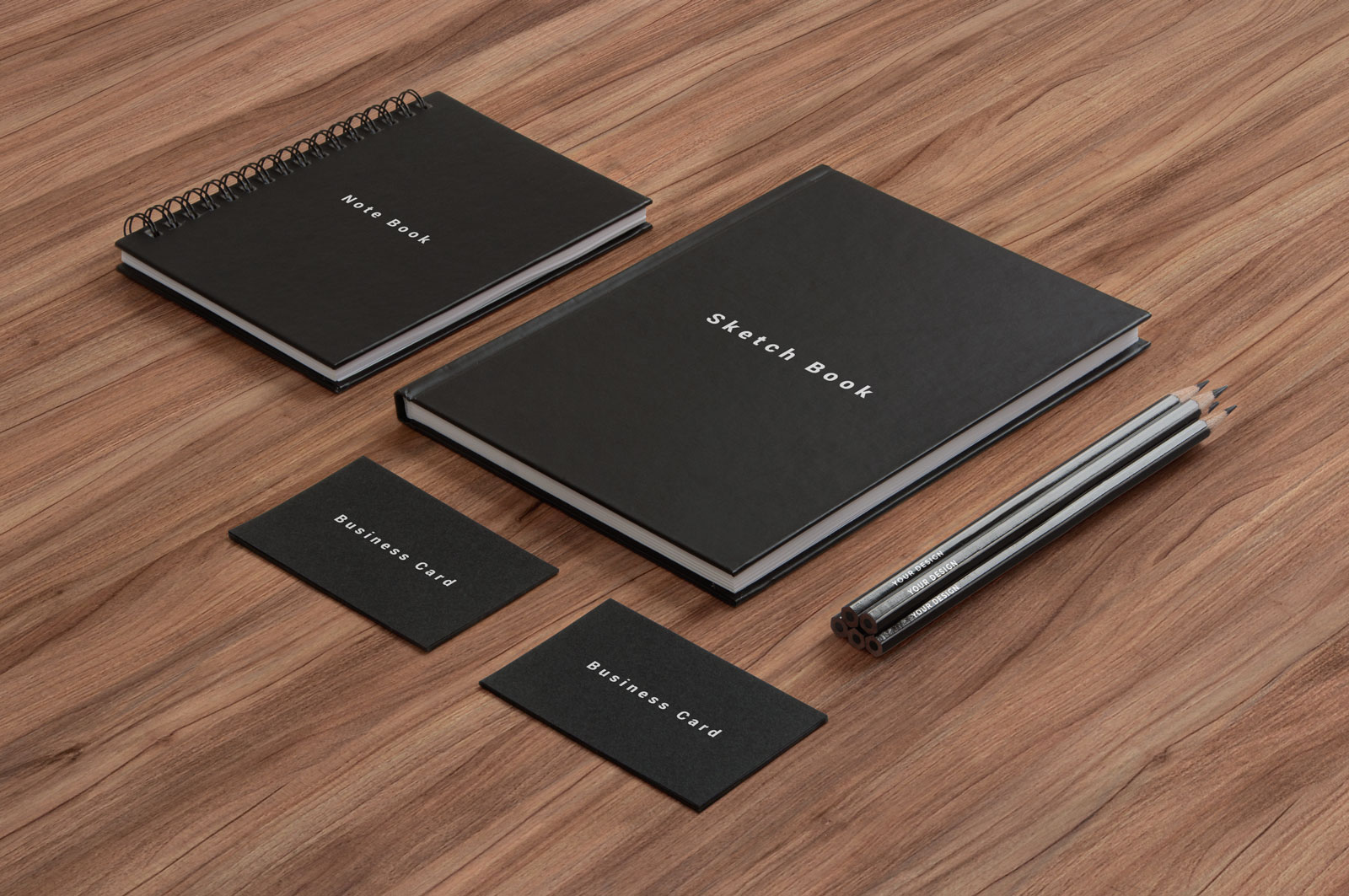 Free-Business-Card,-Notepad,-Led-Pencil-&-Sketchbook-Cover-Mockup-PSD