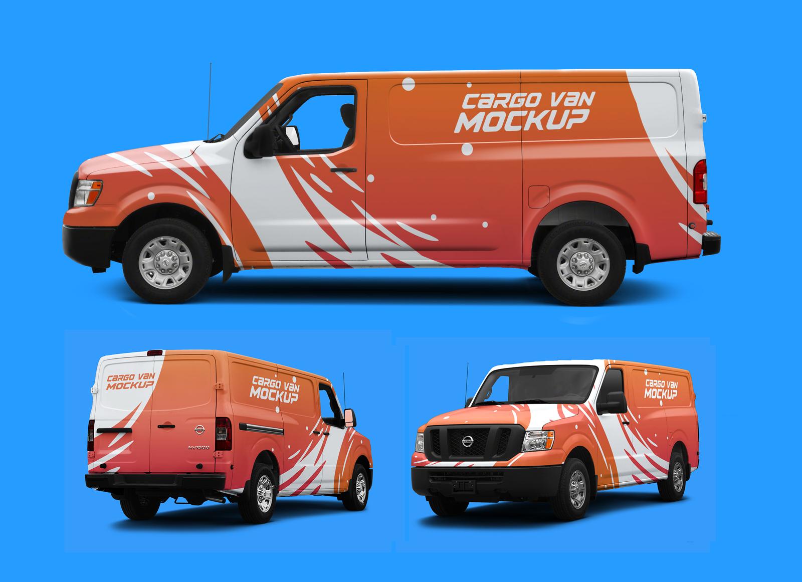 Free Cargo Van Vehicle Branding Mockup PSD (All Angles ...