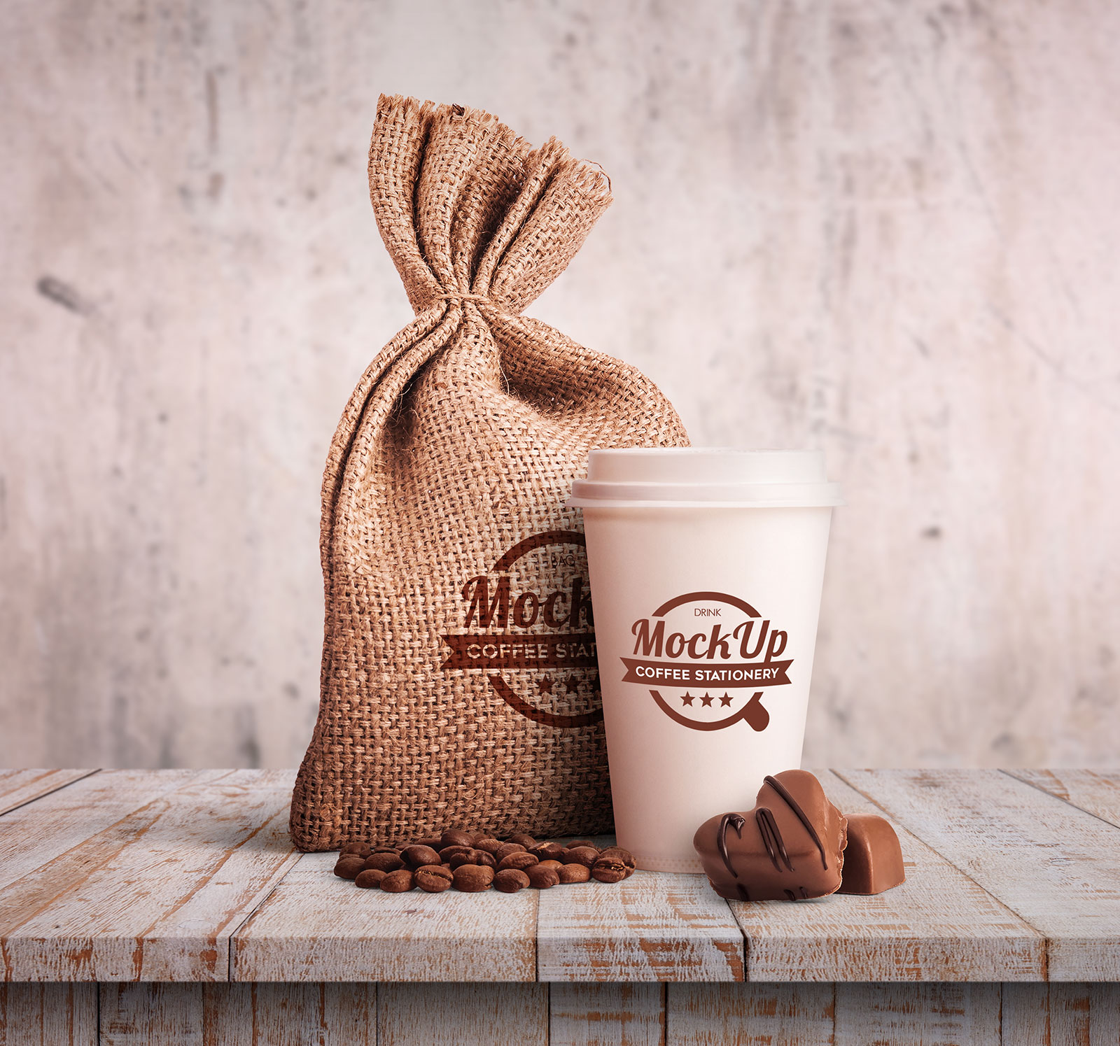 Free-Jute-Sacking-Bag-&-Coffee-Cup-Mockup-PSD