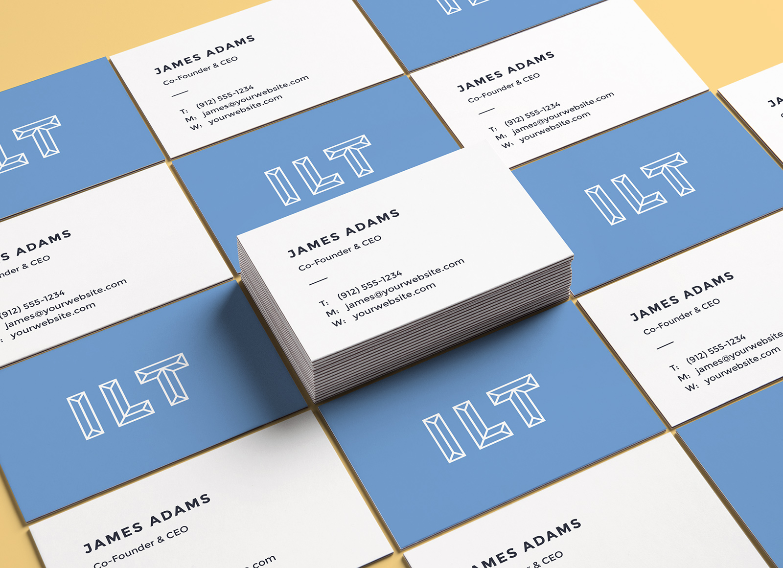 Free perspective business card mockup psd presentation for Business card presentation template psd