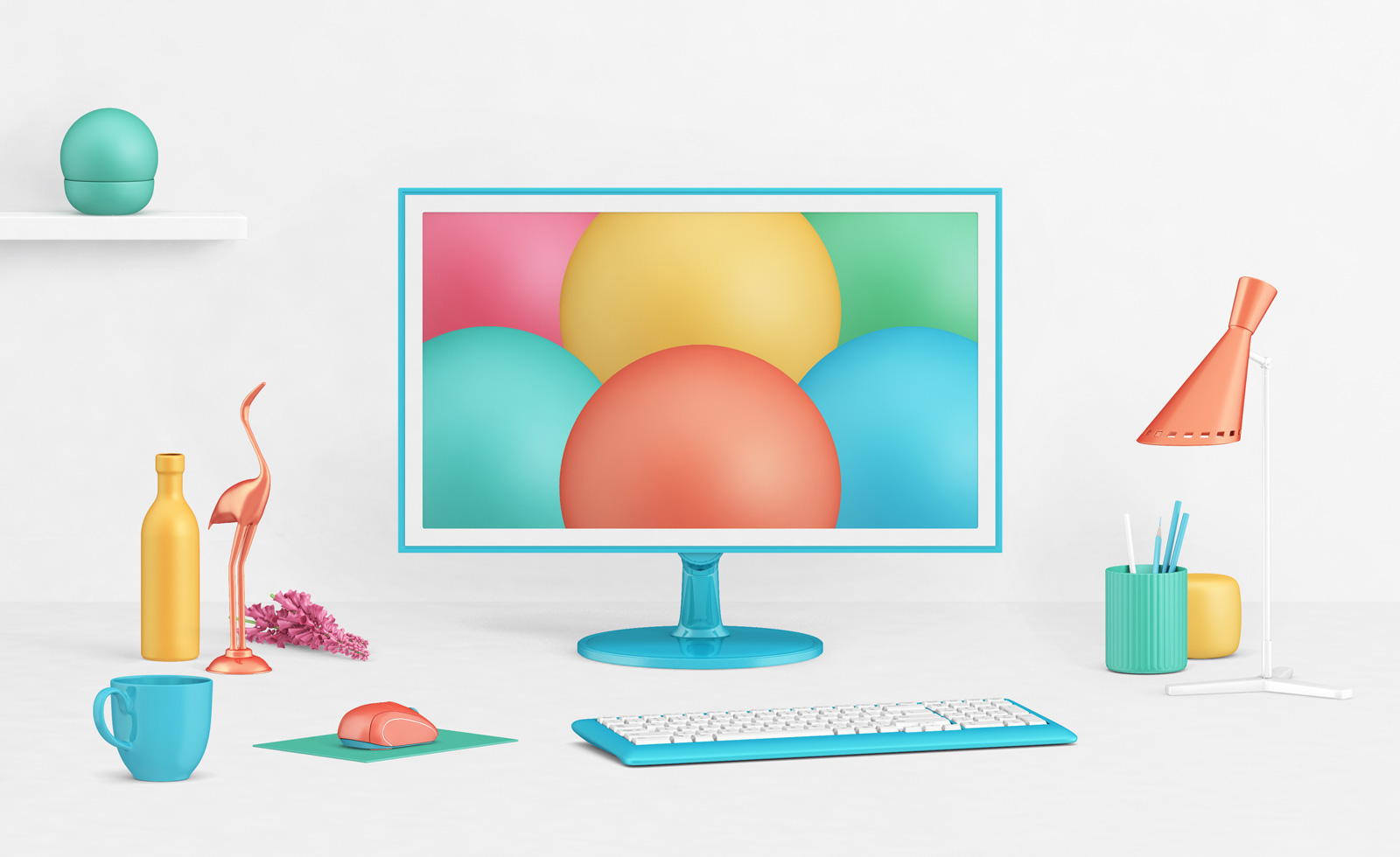 Free-Photorealistic-LCD-Monitor-Mockup-PSD-with-Decor-Items-2