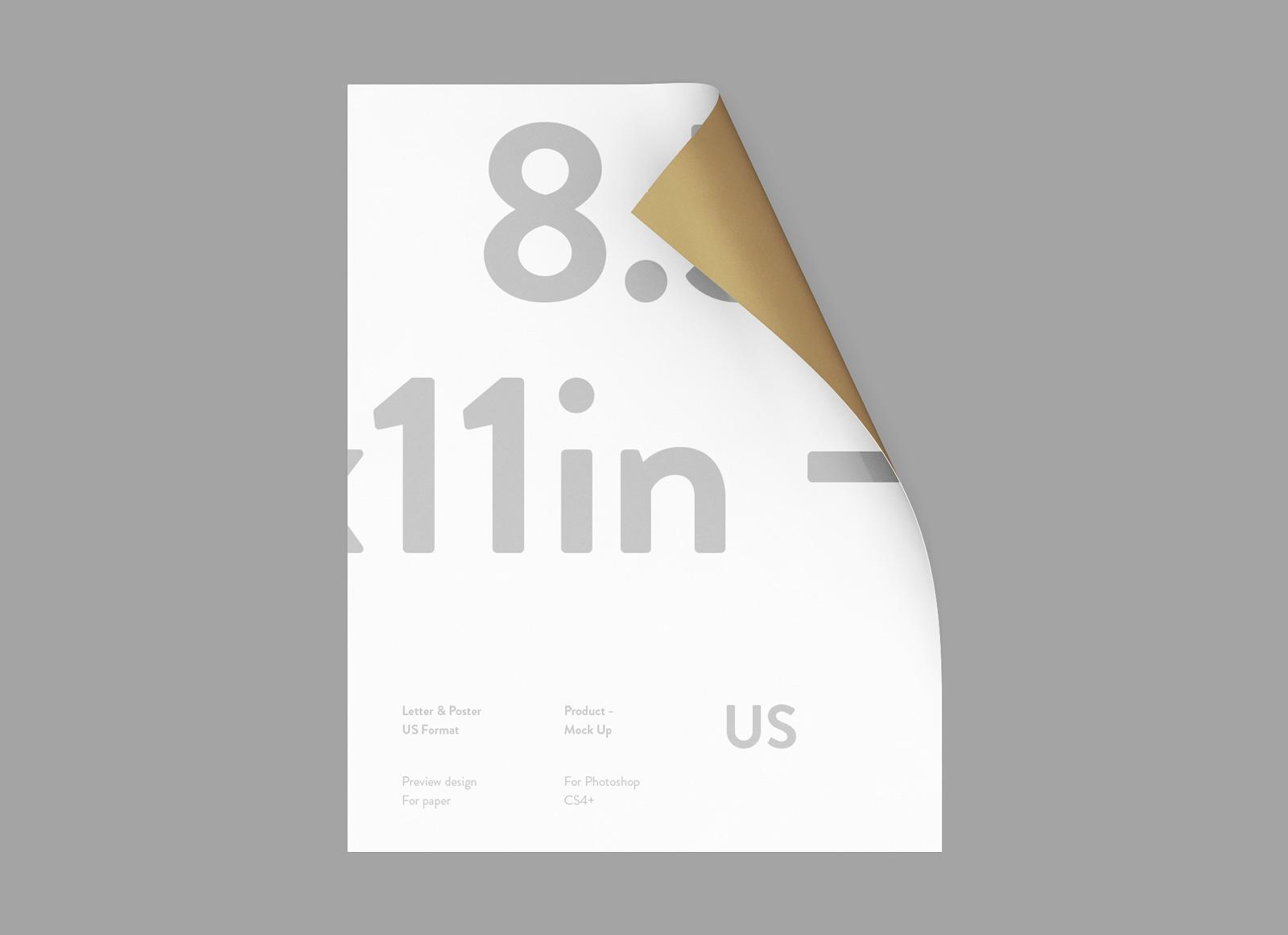 Free US Paper Letterhead   Flyer Mockup PSD