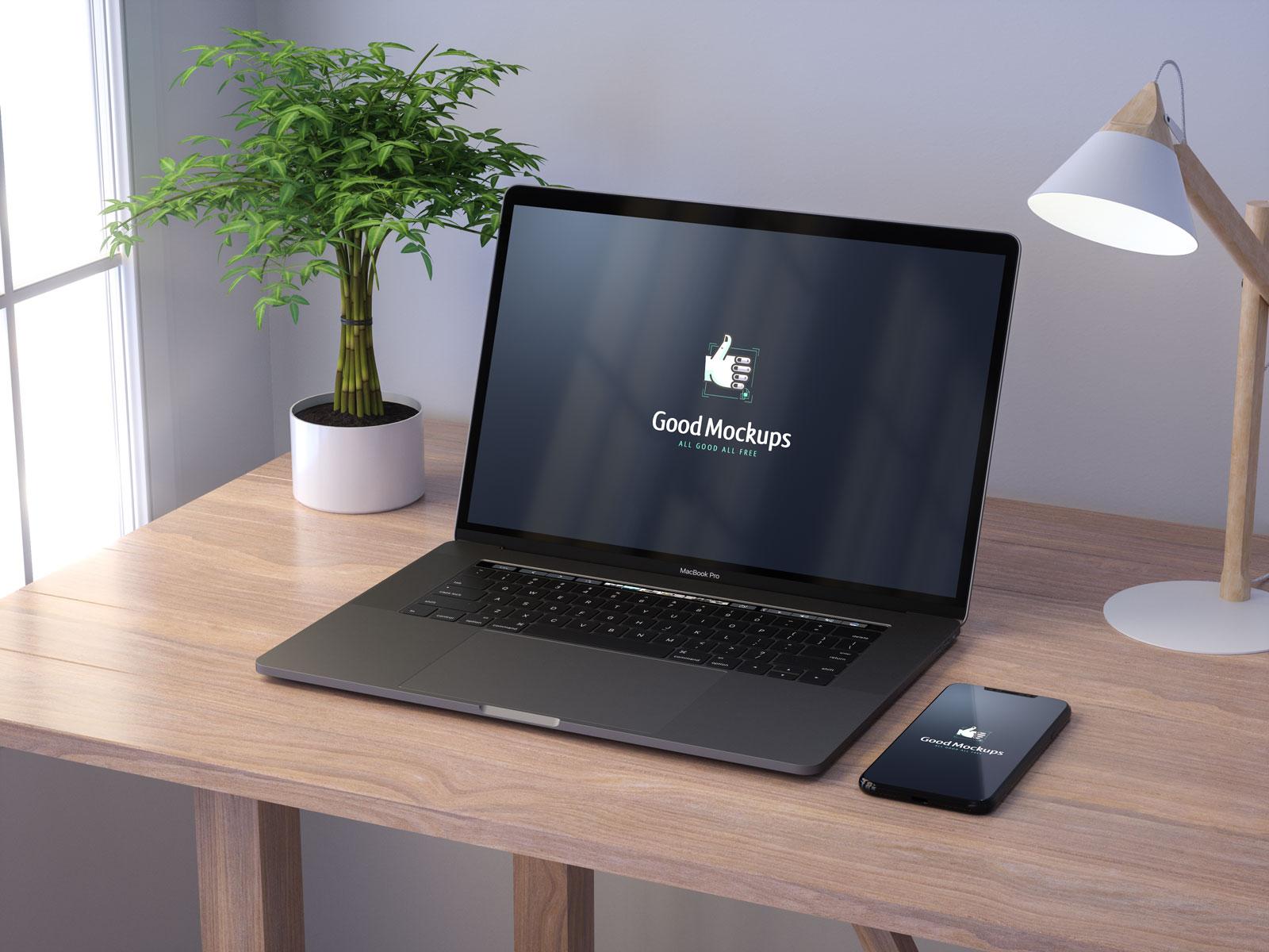 Free-Apple-MacBook-Pro-&-iPhone-8-Mockup-PSD