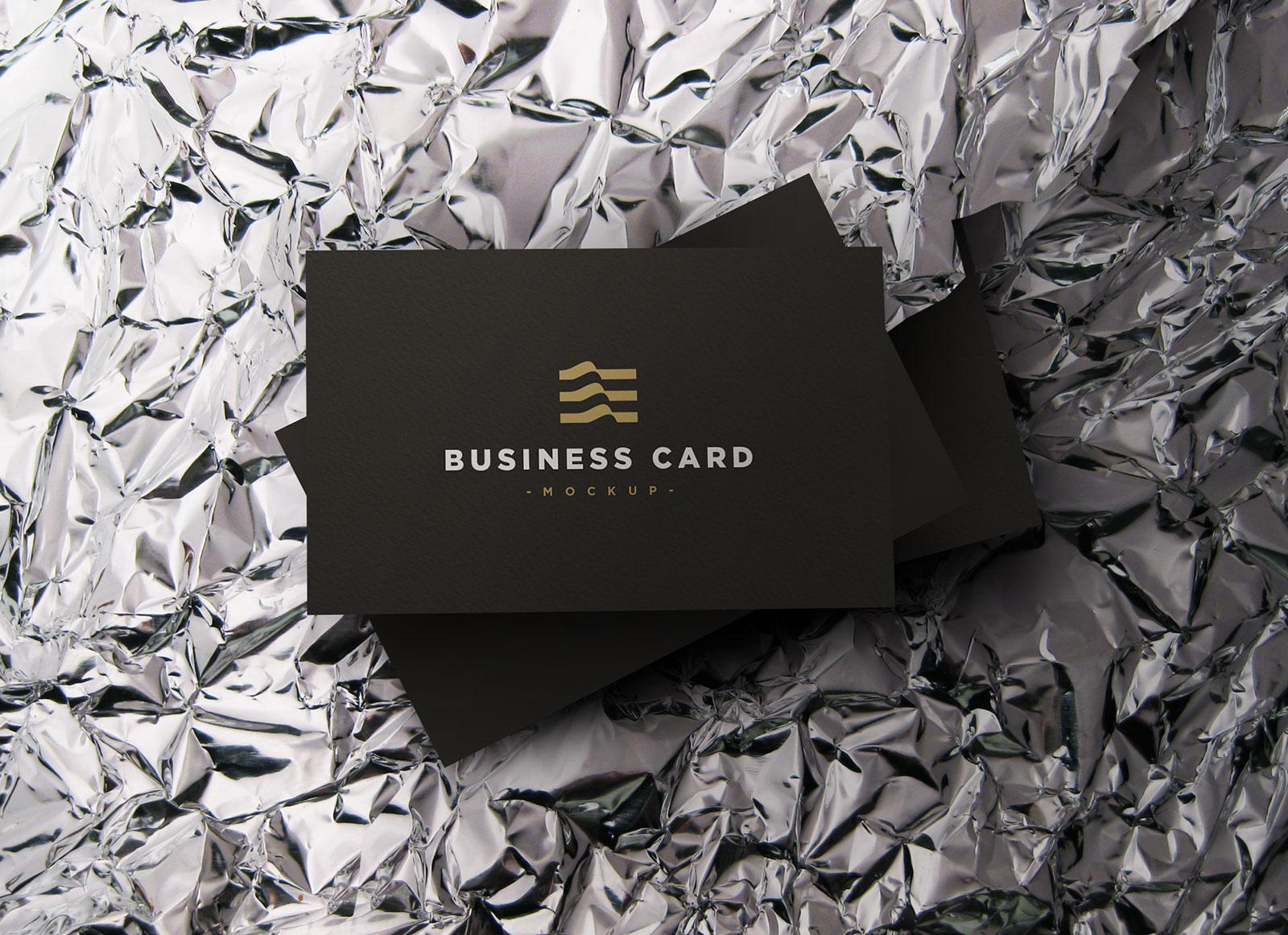 free black elegant business card mockup psd