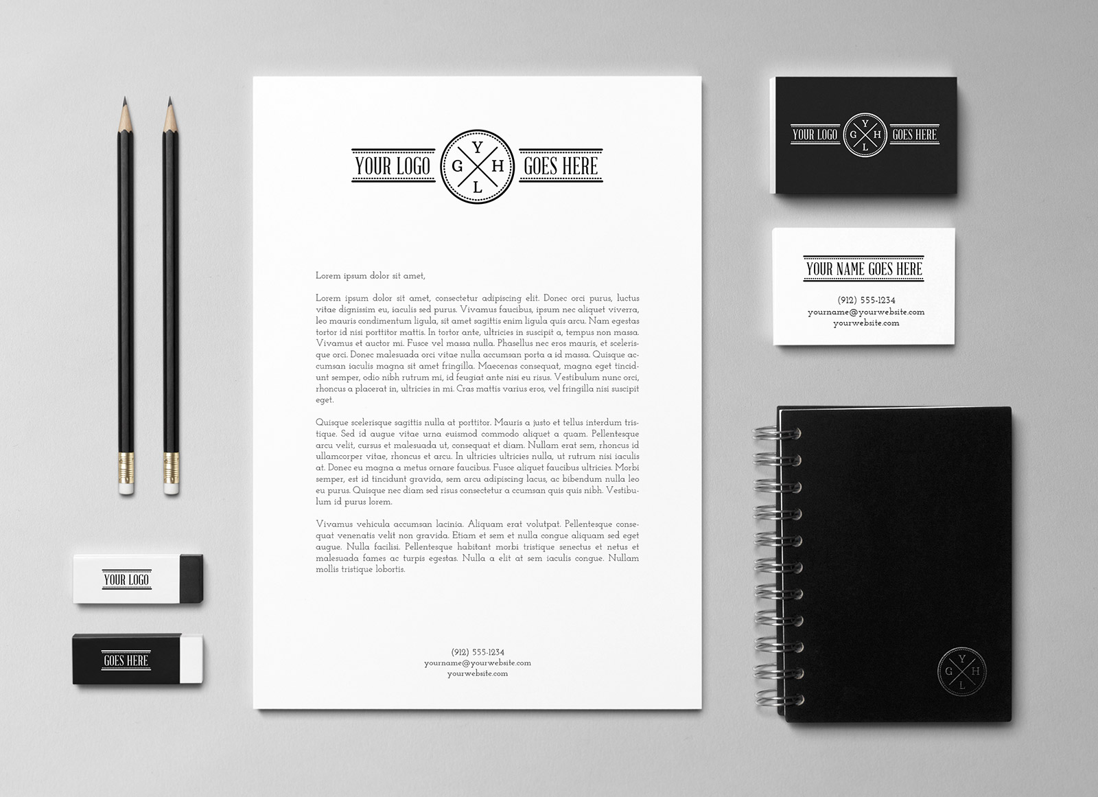 Free Simple Black Amp White Brand Identity Stationery