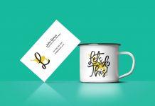 Free-Coffee-Cup-&-Business-Card-Mockup-PSD