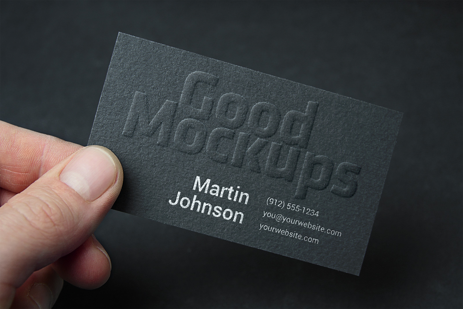 Free Embossed Business Card & Logo Mockup PSD