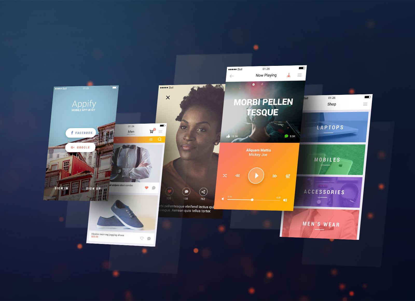 free floating iphone 6 plus app screen mockup psd