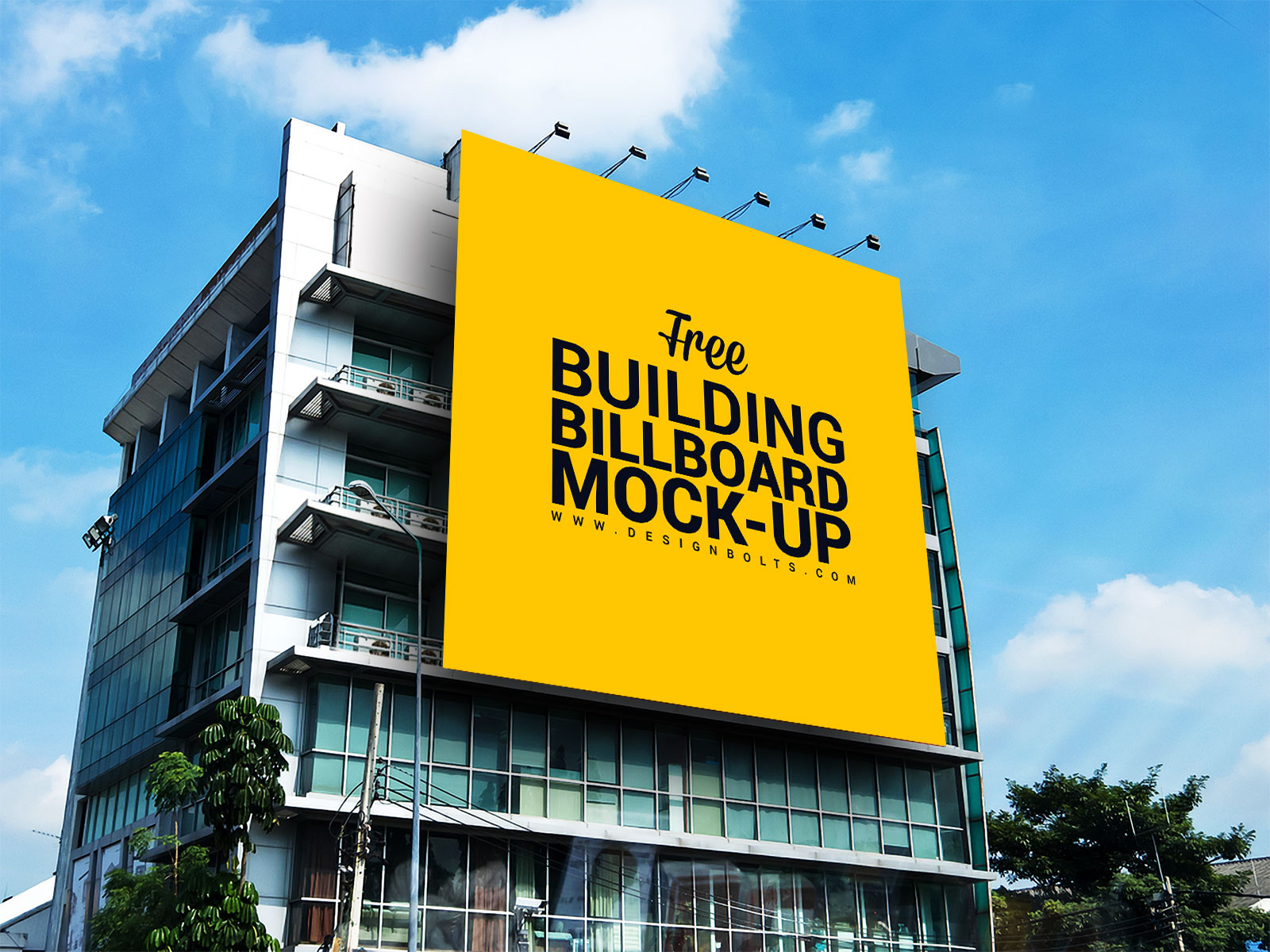 Free outdoor advertisement building branding mockup psd for Build a house online free