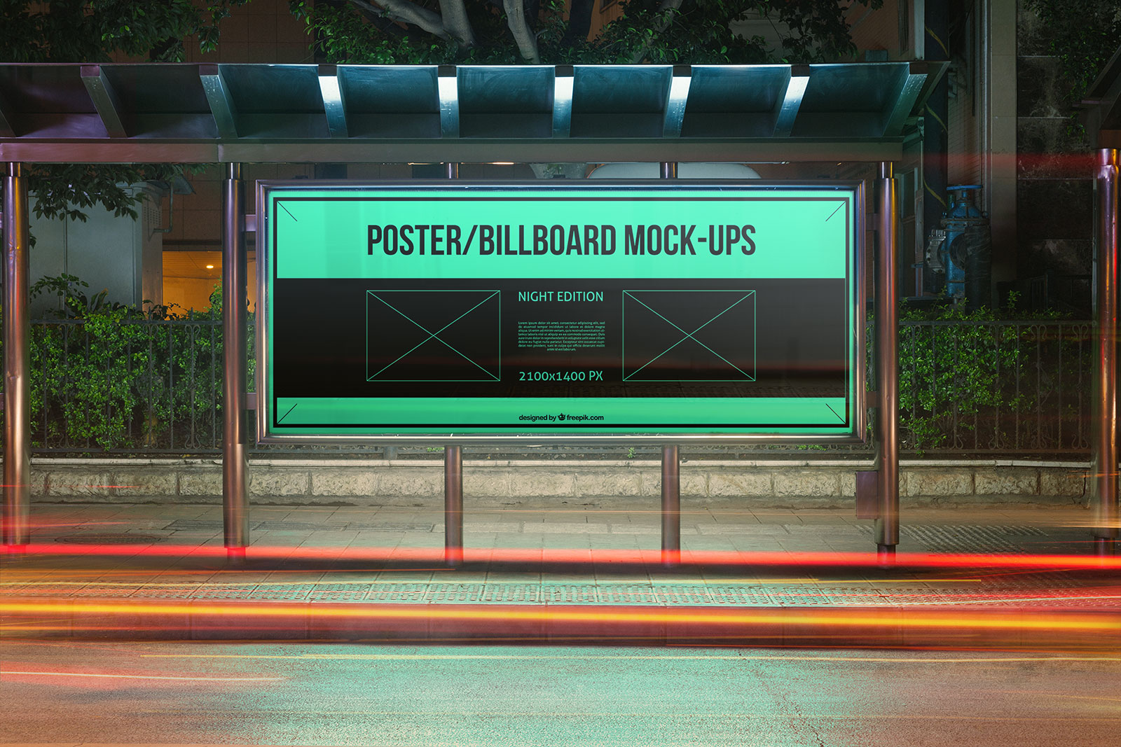 Free-Outdoor-Advertising-Bus-Stop-Mockup-PSD-Nigh-View