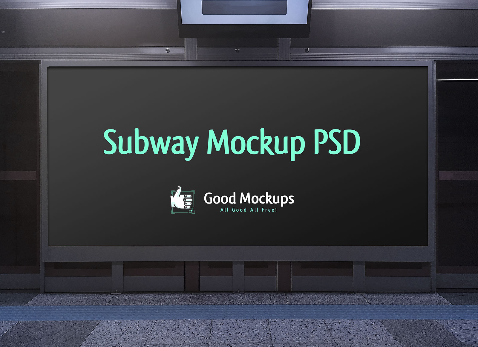 free outdoor advertising subway hoarding mockup psd file