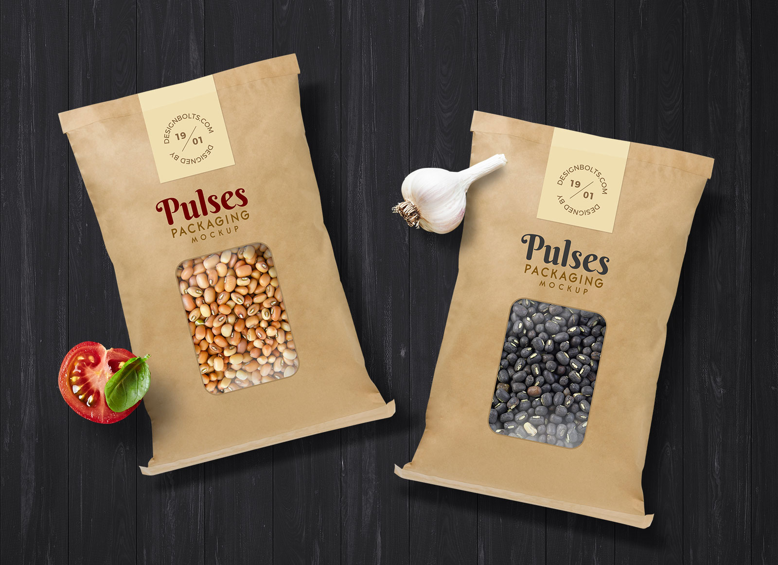 Free Pulses Kraft Paper Pouch Packaging Mockup PSD - Good