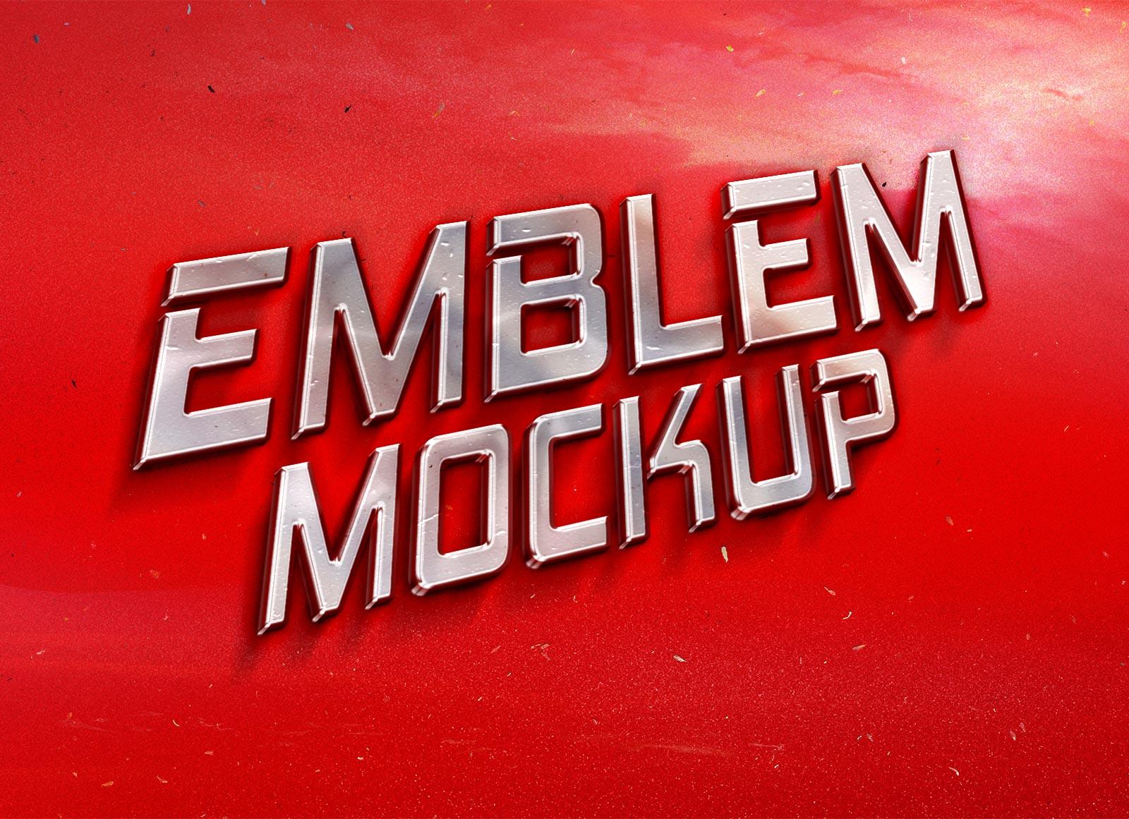 Free Retro Car Emblem 3D Logo Mockup PSD - Good Mockups