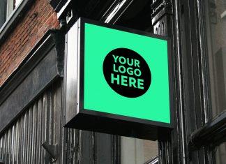Free-Sqaure-Wall-Mounted-Shop-Sign-Mockup-PSD