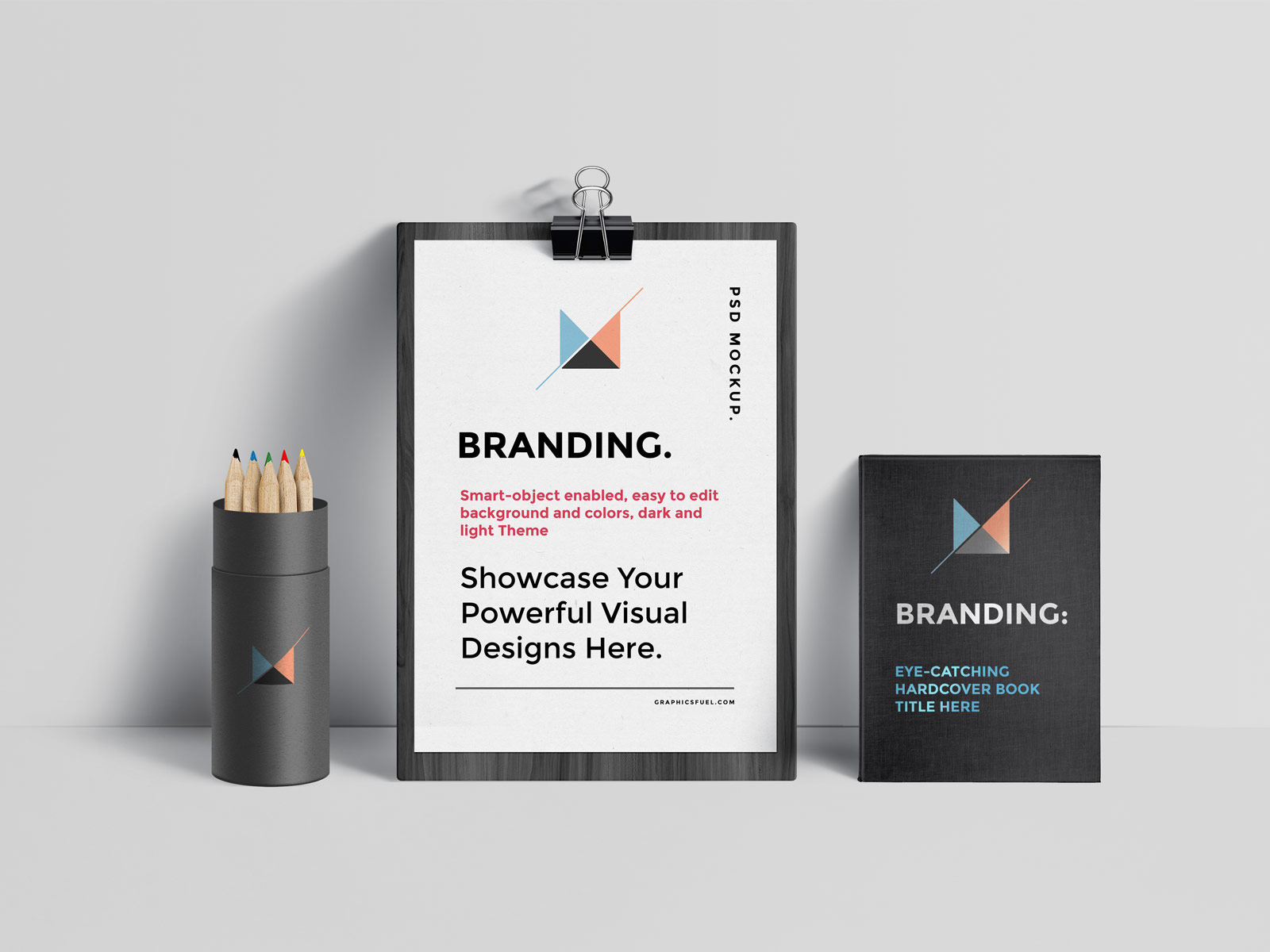 Free-A4-Paper-Clipboard,-Book-&-Pencil-Stand-Mockup-PSD-2