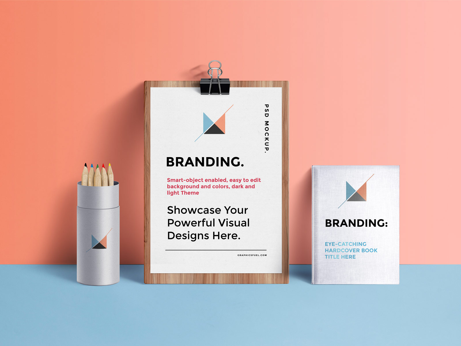Free-A4-Paper-Clipboard,-Book-&-Pencil-Stand-Mockup-PSD