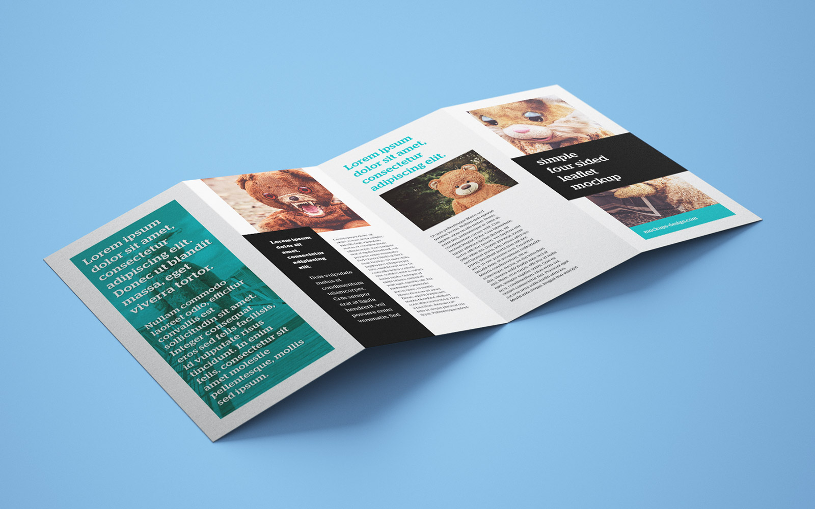 Free accordion 4 fold brochure leaflet mockup psd for Accordion fold brochure template
