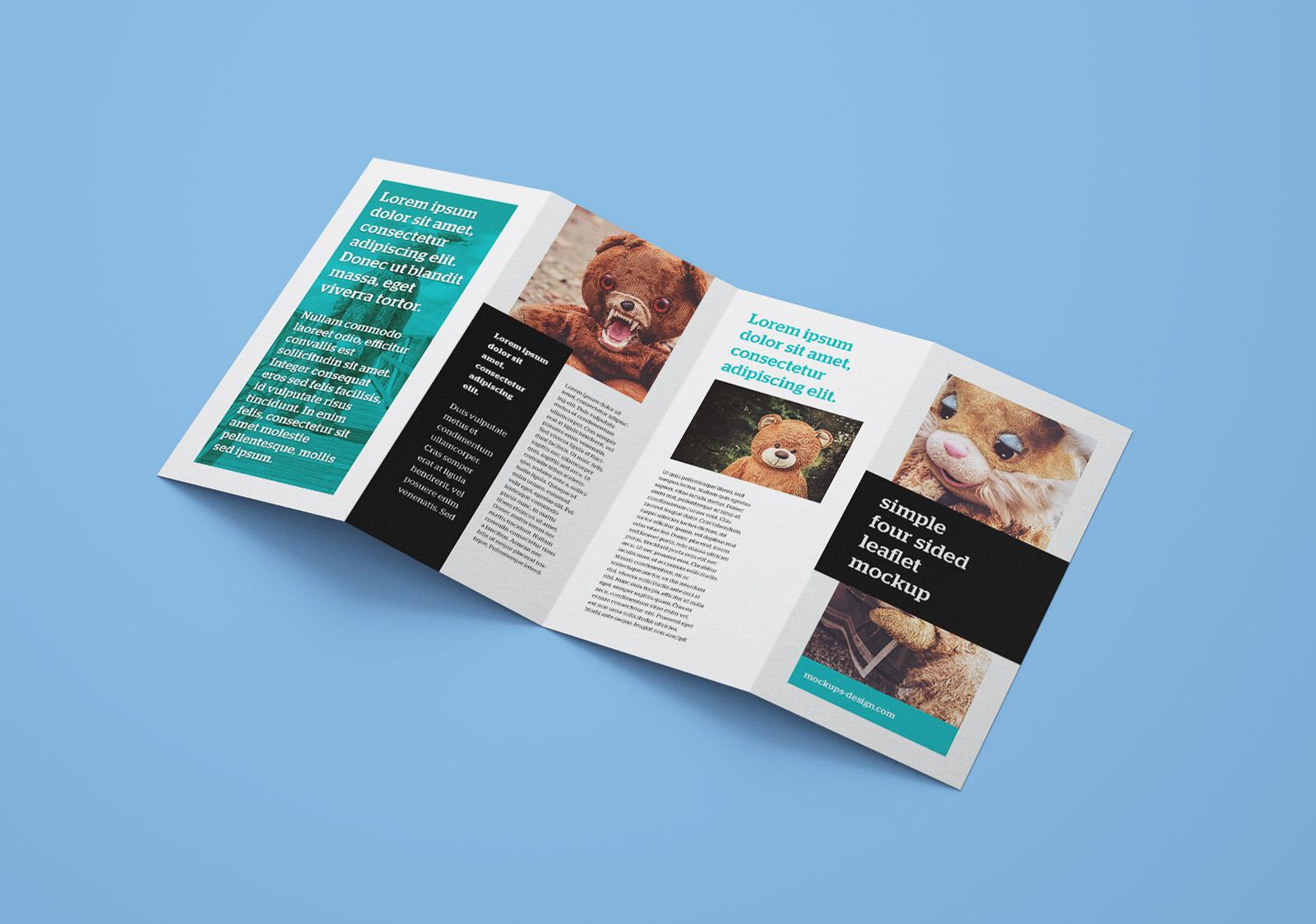 Free Accordion 4-Fold Brochure Leaflet Mockup PSD Templates (3)