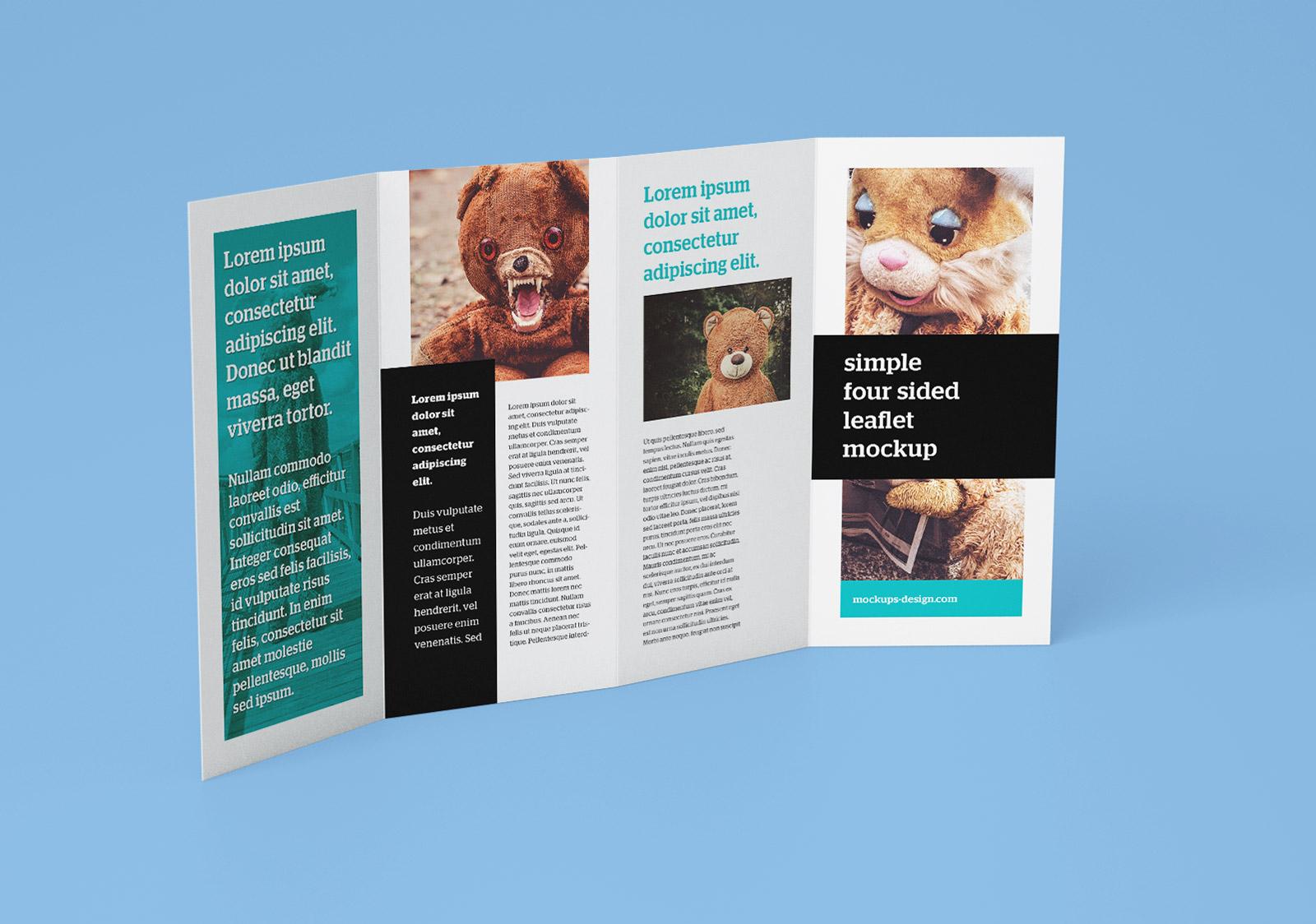 free accordion 4 fold brochure leaflet mockup psd templates 4